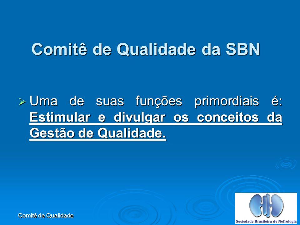 Comitê de Qualidade Comitê de Qualidade da SBN Uma de suas funções primordiais é: Estimular e divulgar os conceitos da Gestão de Qualidade.