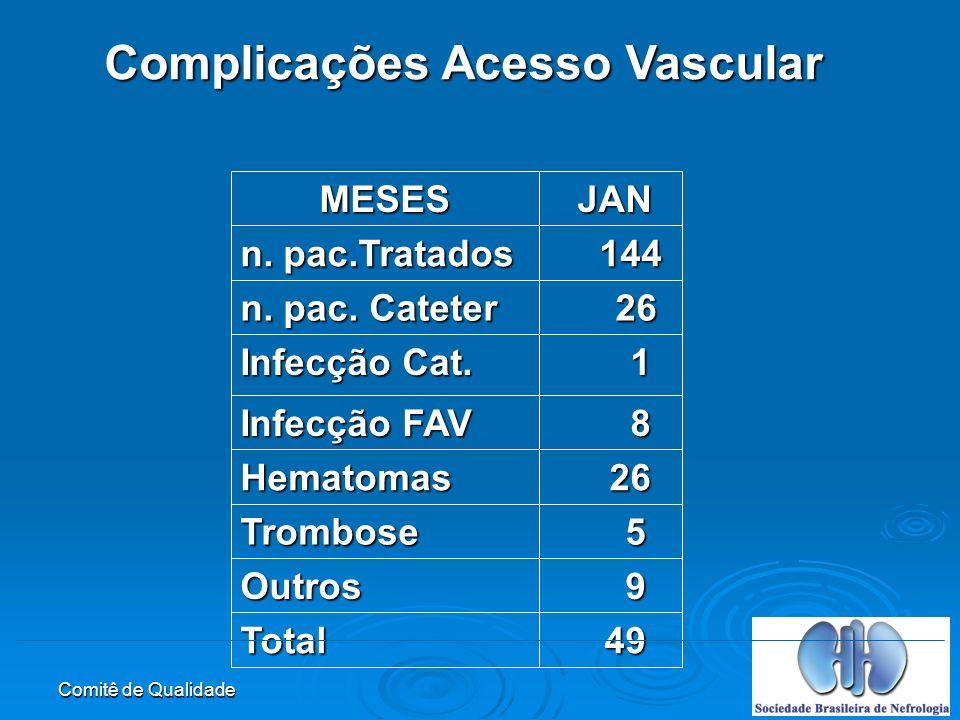 Comitê de Qualidade Complicações Acesso Vascular 49 49Total 9Outros 5Trombose 26 26Hematomas 8 Infecção FAV 1 Infecção Cat.
