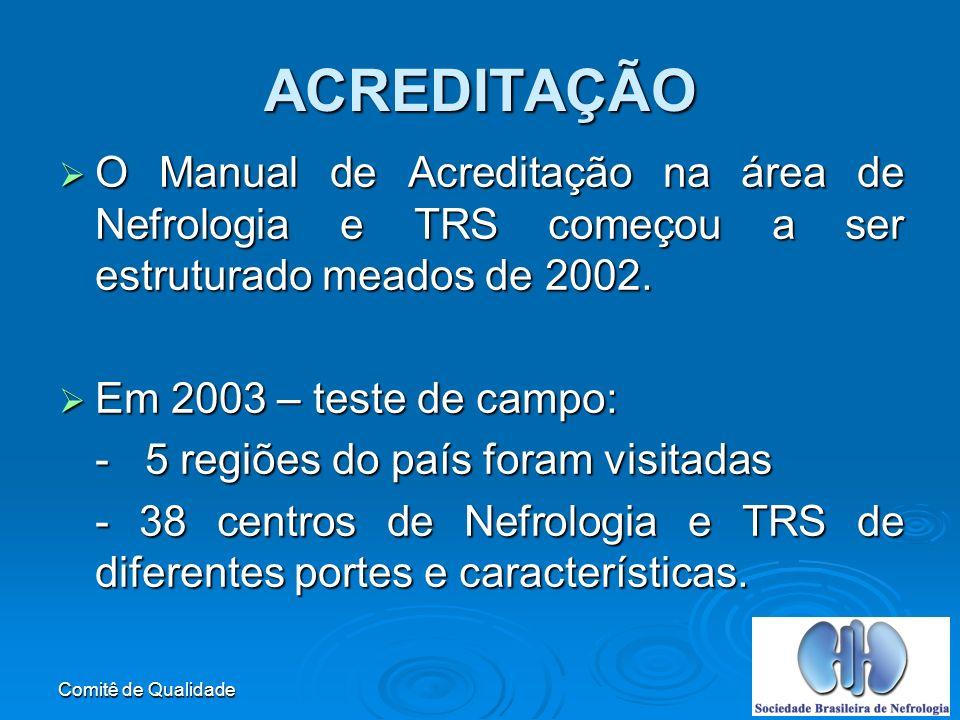 Comitê de Qualidade O Manual de Acreditação na área de Nefrologia e TRS começou a ser estruturado meados de 2002.