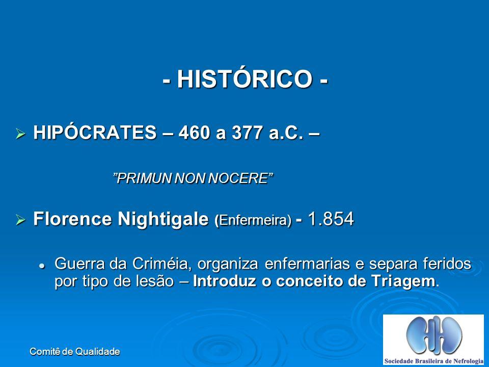 Comitê de Qualidade - HISTÓRICO - HIPÓCRATES – 460 a 377 a.C.