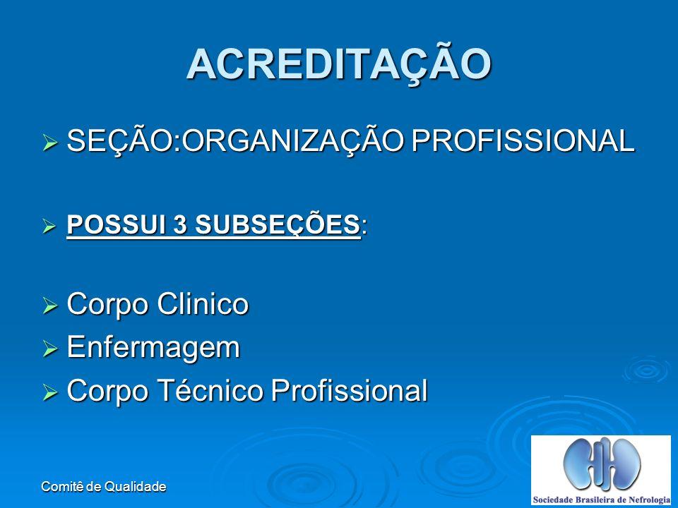 Comitê de Qualidade ACREDITAÇÃO SEÇÃO:ORGANIZAÇÃO PROFISSIONAL SEÇÃO:ORGANIZAÇÃO PROFISSIONAL POSSUI 3 SUBSEÇÕES: POSSUI 3 SUBSEÇÕES: Corpo Clinico Corpo Clinico Enfermagem Enfermagem Corpo Técnico Profissional Corpo Técnico Profissional