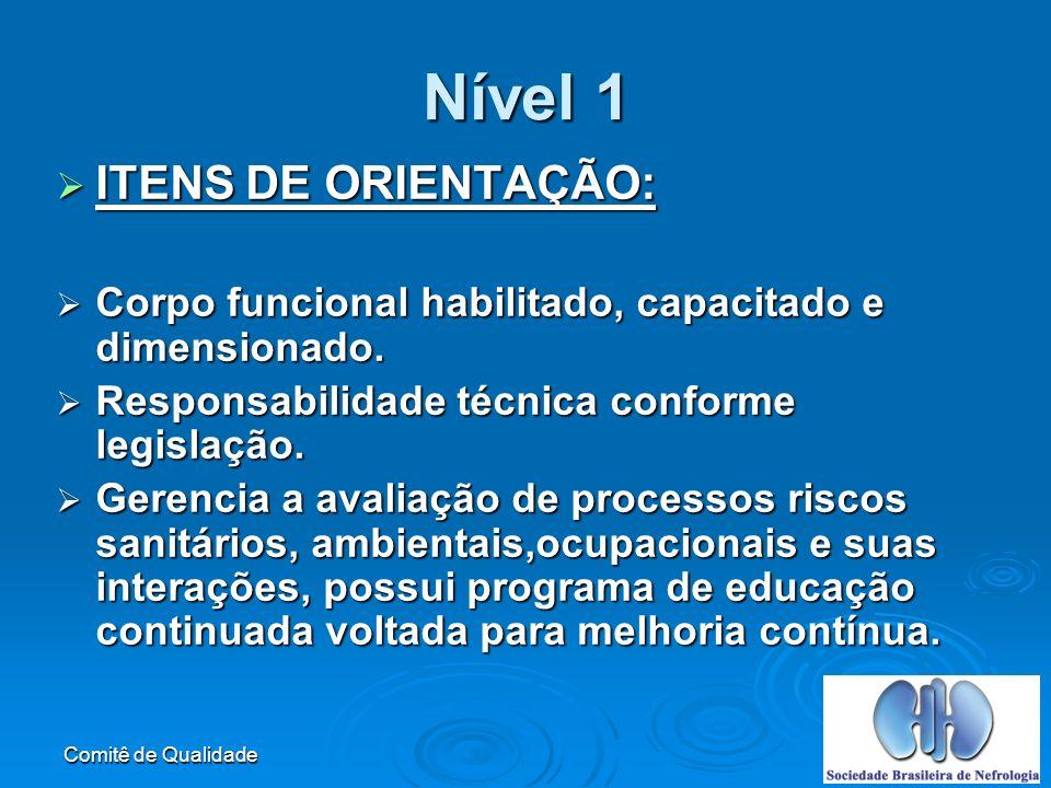 Comitê de Qualidade Nível 1 ITENS DE ORIENTAÇÃO: ITENS DE ORIENTAÇÃO: Corpo funcional habilitado, capacitado e dimensionado.
