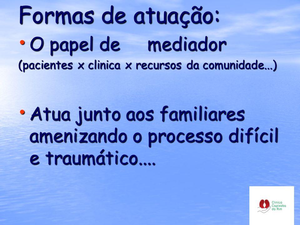 Formas de atuação: O papel de mediador (pacientes x clinica x recursos da comunidade...) Atua junto aos familiares amenizando o processo difícil e tra