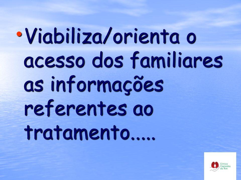 Viabiliza/orienta o acesso dos familiares as informações referentes ao tratamento.....