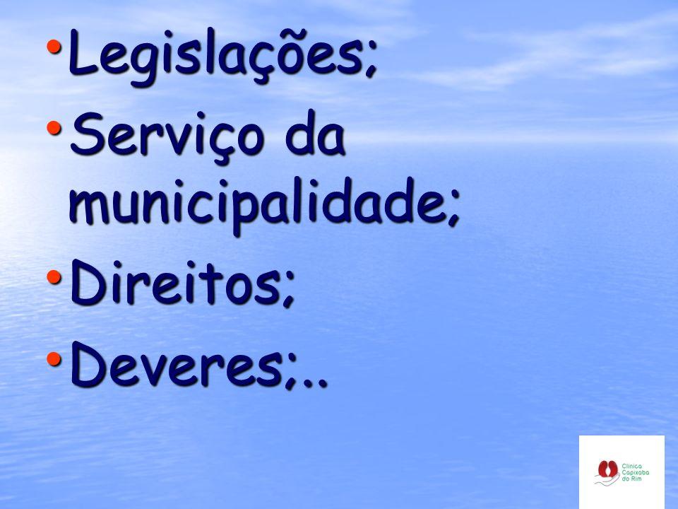 Legislações; Legislações; Serviço da municipalidade; Serviço da municipalidade; Direitos; Direitos; Deveres;.. Deveres;..