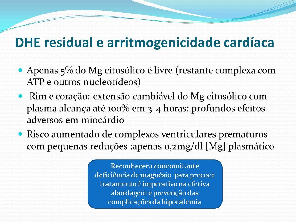 Situações de maior risco arritmogênico na hipomagnesemia DC previa IAM/ angina anterior ICC Enfermidade aguda (CTI) Hipocalemia associada