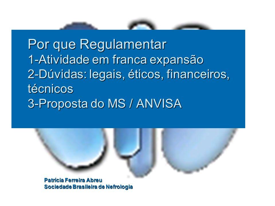 Por que Regulamentar 1-Atividade em franca expansão 2-Dúvidas: legais, éticos, financeiros, técnicos 3-Proposta do MS / ANVISA Patrícia Ferreira Abreu