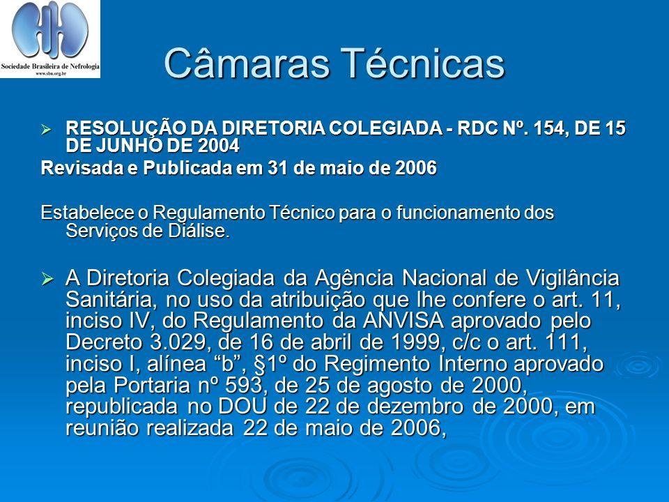 Câmaras Técnicas RESOLUÇÃO DA DIRETORIA COLEGIADA - RDC Nº. 154, DE 15 DE JUNHO DE 2004 RESOLUÇÃO DA DIRETORIA COLEGIADA - RDC Nº. 154, DE 15 DE JUNHO
