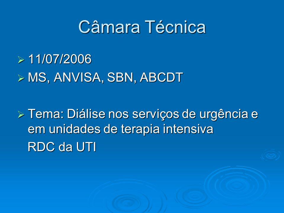 Câmara Técnica 11/07/2006 11/07/2006 MS, ANVISA, SBN, ABCDT MS, ANVISA, SBN, ABCDT Tema: Diálise nos serviços de urgência e em unidades de terapia int