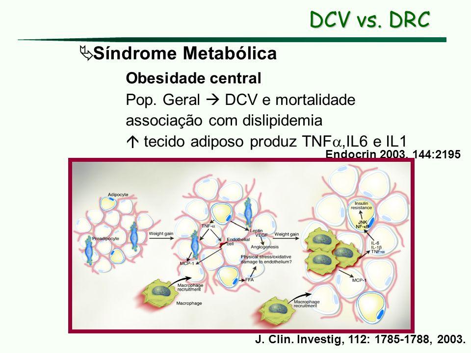 Síndrome Metabólica Obesidade central Pop. Geral DCV e mortalidade associação com dislipidemia tecido adiposo produz TNF,IL6 e IL1 Endocrin 2003, 144: