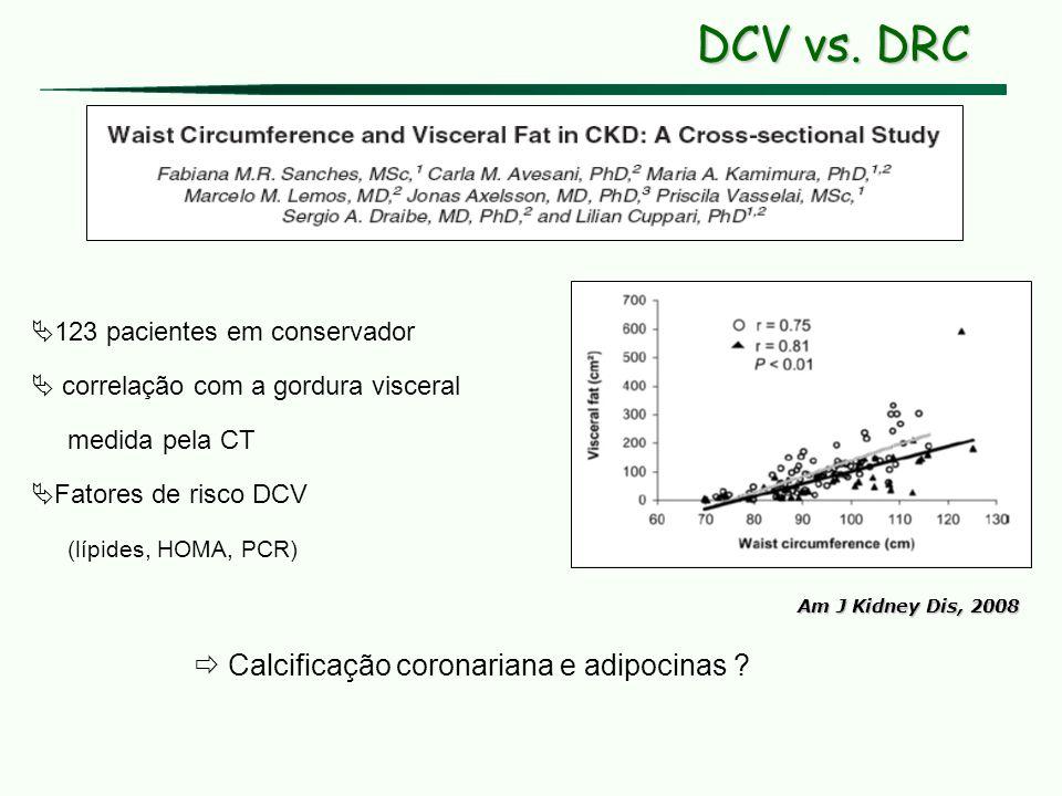 Am J Kidney Dis, 2008 123 pacientes em conservador correlação com a gordura visceral medida pela CT Fatores de risco DCV (lípides, HOMA, PCR) Calcific