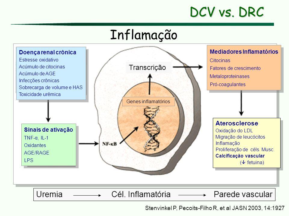 Doença renal crônica Estresse oxidativo Acúmulo de citocinas Acúmulo de AGE Infecções crônicas Sobrecarga de volume e HAS Toxicidade urêmica Doença re