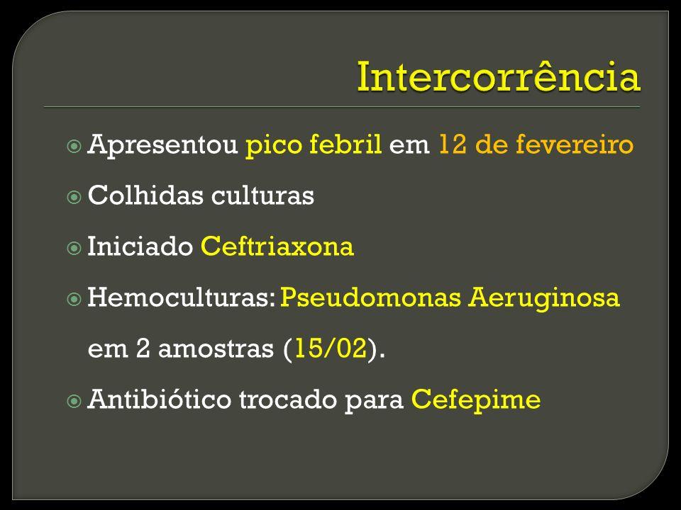 Apresentou pico febril em 12 de fevereiro Colhidas culturas Iniciado Ceftriaxona Hemoculturas: Pseudomonas Aeruginosa em 2 amostras (15/02). Antibióti