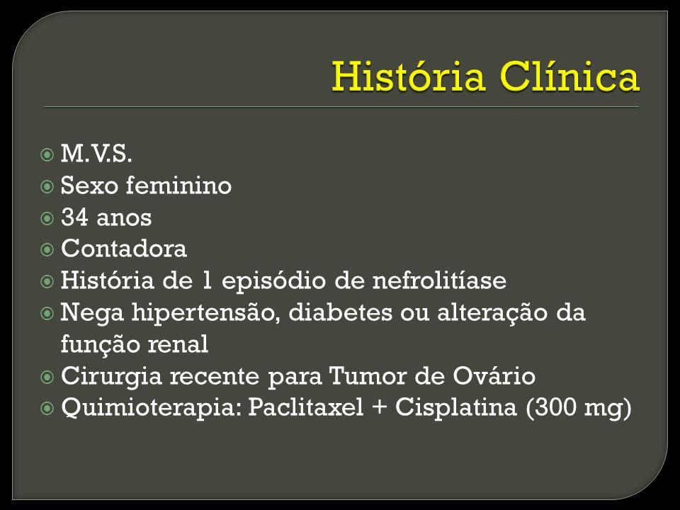M.V.S. Sexo feminino 34 anos Contadora História de 1 episódio de nefrolitíase Nega hipertensão, diabetes ou alteração da função renal Cirurgia recente