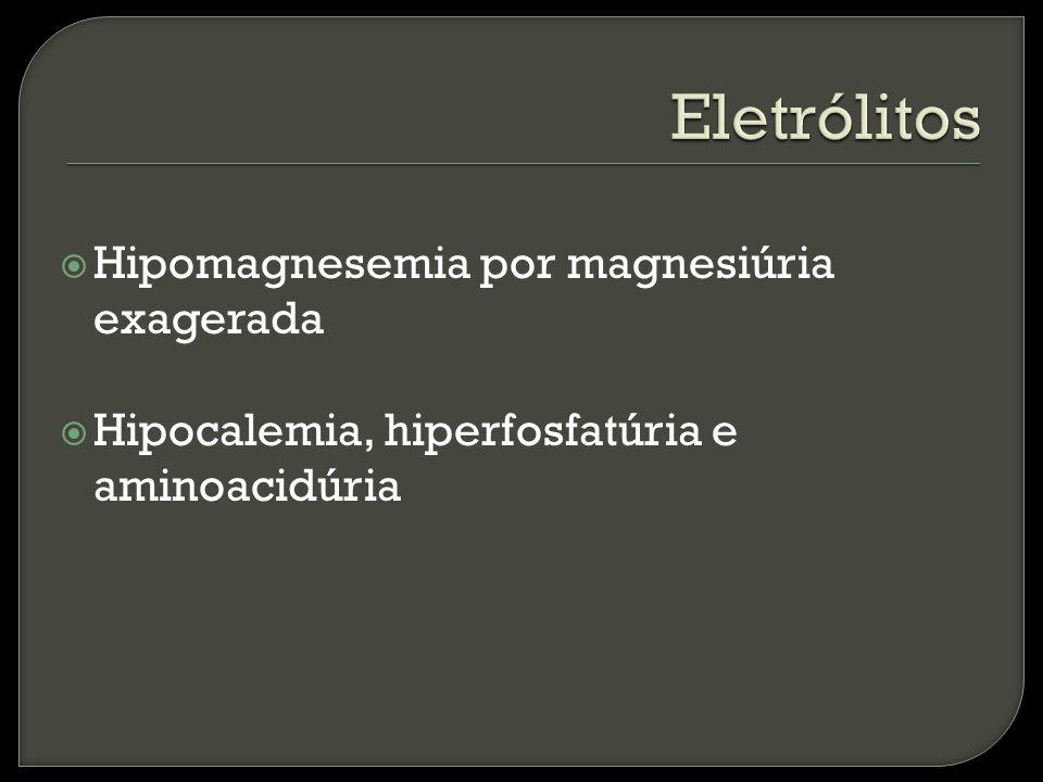 Hipomagnesemia por magnesiúria exagerada Hipocalemia, hiperfosfatúria e aminoacidúria