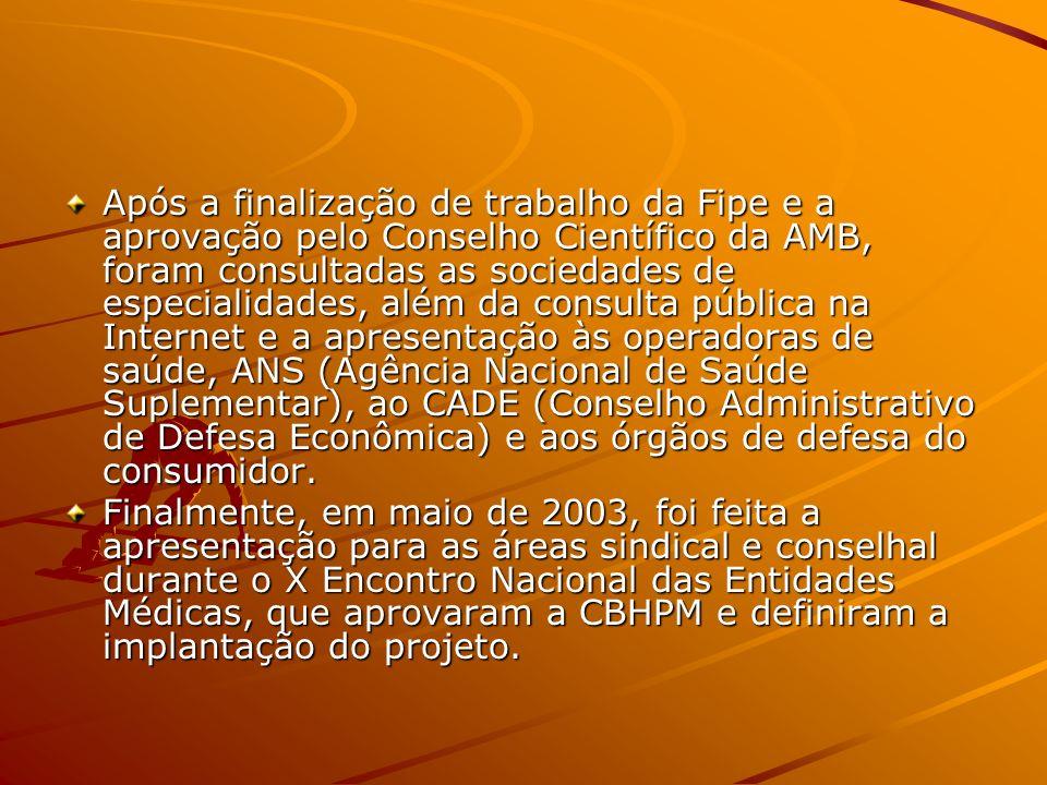 O projeto – início em 2.000 (FIPE-Fundação Instituto de Pesquisas econômicas da USP) Primeira etapa –Classificação e hierarquização dos honorários méd
