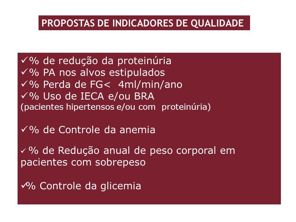 % de redução da proteinúria % PA nos alvos estipulados % Perda de FG< 4ml/min/ano % Uso de IECA e/ou BRA (pacientes hipertensos e/ou com proteinúria)
