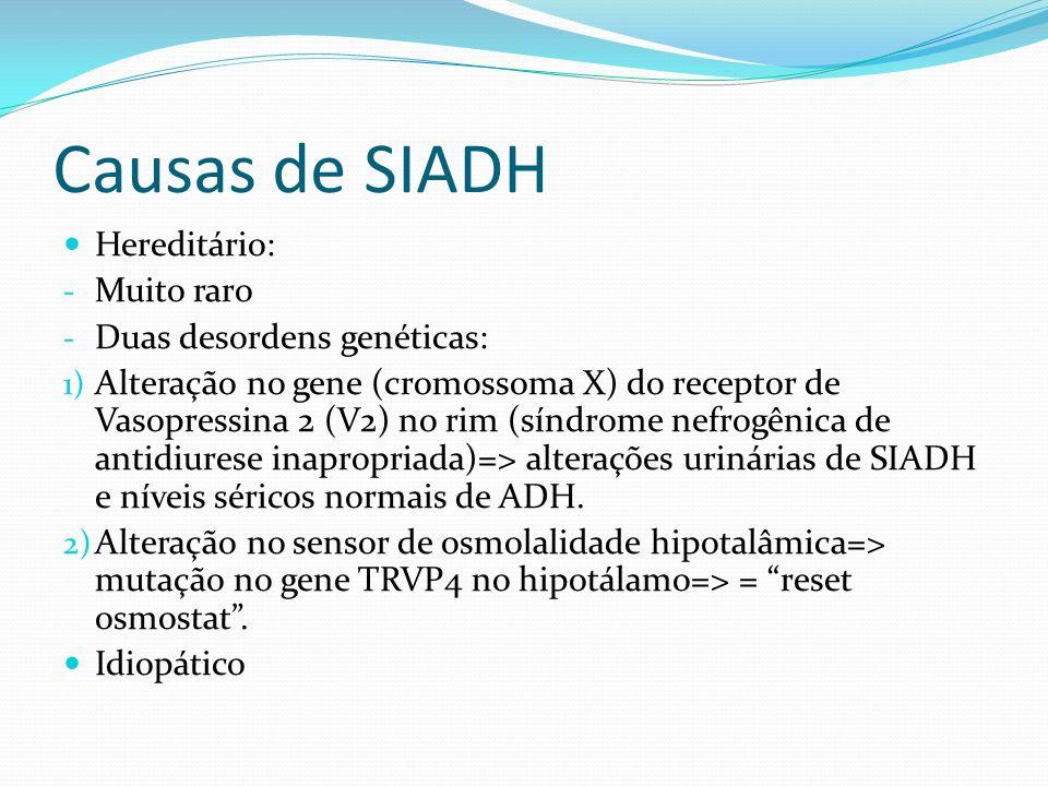 Causas de SIADH Hereditário: - Muito raro - Duas desordens genéticas: 1) Alteração no gene (cromossoma X) do receptor de Vasopressina 2 (V2) no rim (s