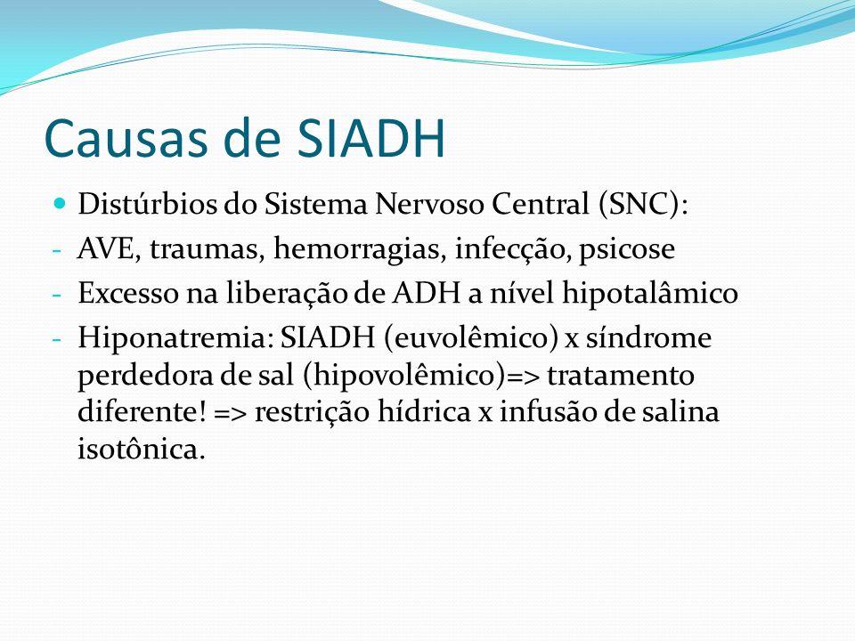Causas de SIADH Distúrbios do Sistema Nervoso Central (SNC): - AVE, traumas, hemorragias, infecção, psicose - Excesso na liberação de ADH a nível hipo