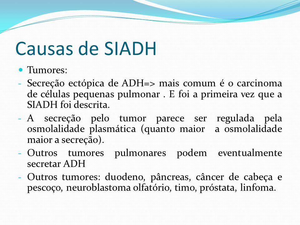 Causas de SIADH Grandes cirurgias: - Torácicas e cardíacas - Aumento da secreção de ADH => via aferente da dor - Cirurgia transesfenoidal da pituitária=> injúria da pituitária posterior=> hiponatremia no D16 ao D17 de pós-operatório.