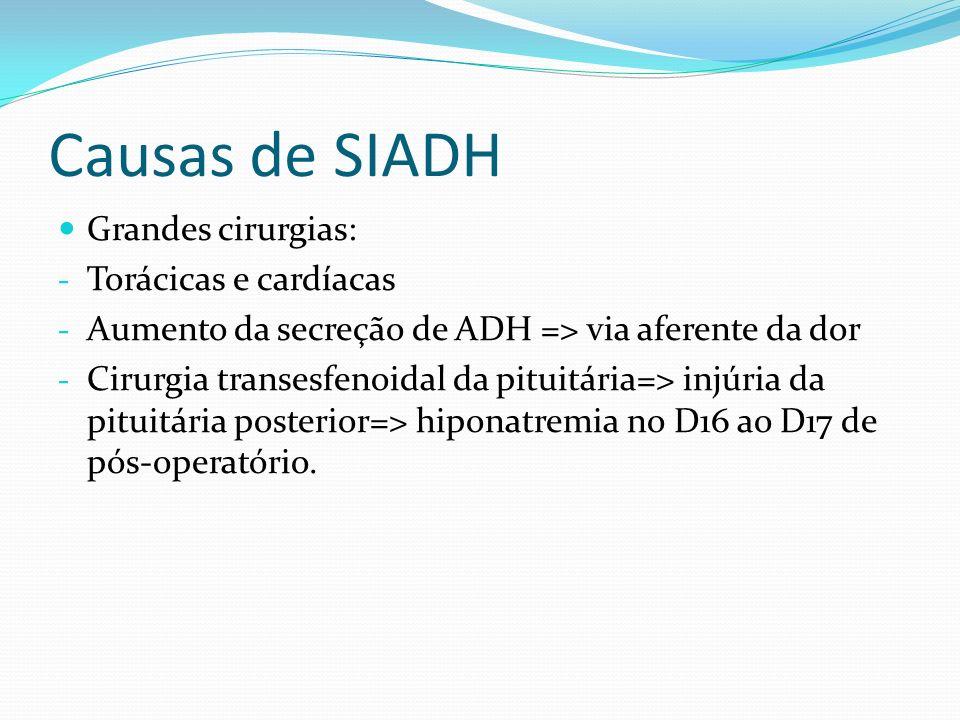 Causas de SIADH Grandes cirurgias: - Torácicas e cardíacas - Aumento da secreção de ADH => via aferente da dor - Cirurgia transesfenoidal da pituitári