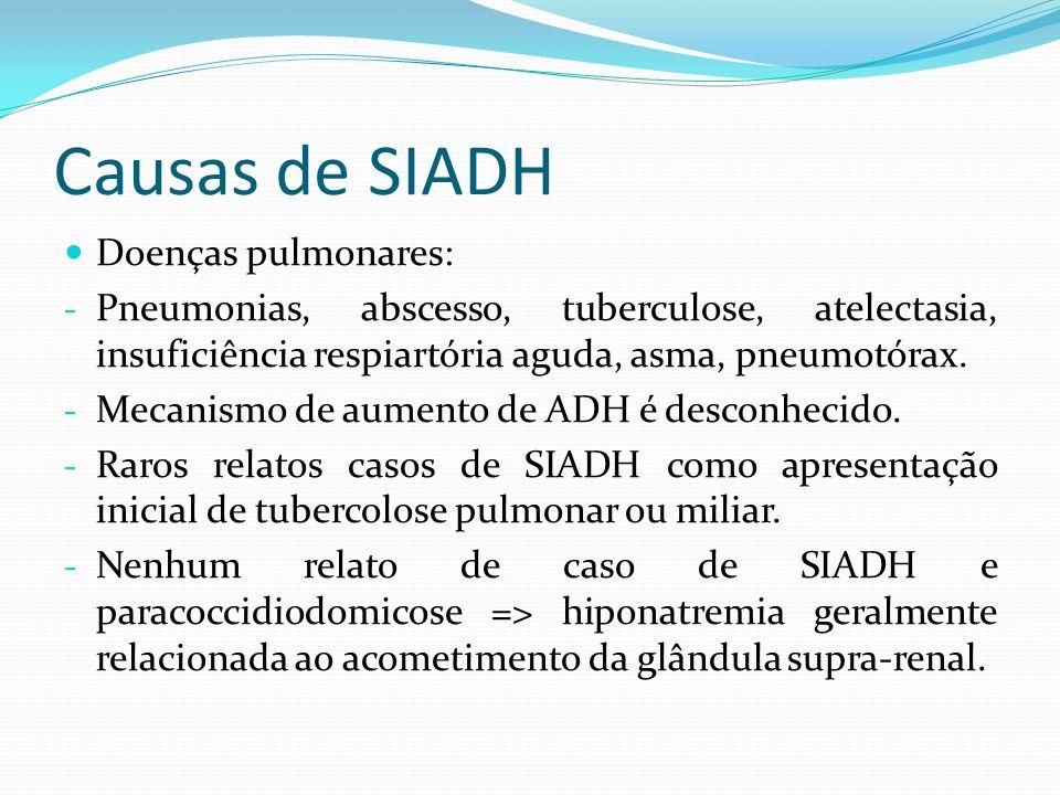 Causas de SIADH Doenças pulmonares: - Pneumonias, abscesso, tuberculose, atelectasia, insuficiência respiartória aguda, asma, pneumotórax. - Mecanismo