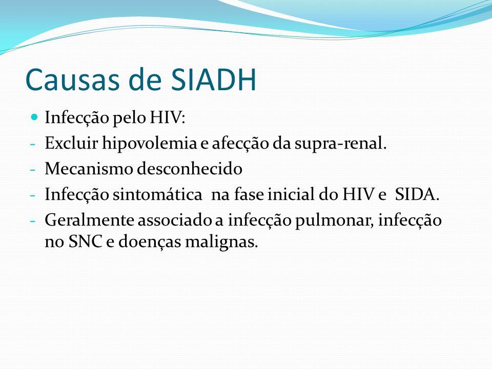 Causas de SIADH Drogas: - Clorpropamida=> pode aumentar a abilidade de reabsorção de cloreto de sódio na alça de Henle e aumentar a permeabilidade a água no túbulo coletor e pode aumentar o número de receptores de ADH no túbulo coletor.