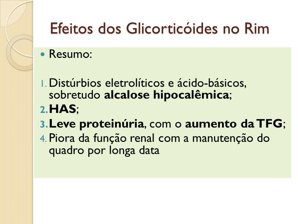 Efeitos dos Glicorticóides no Rim Resumo: 1. Distúrbios eletrolíticos e ácido-básicos, sobretudo alcalose hipocalêmica; 2. HAS; 3. Leve proteinúria, c