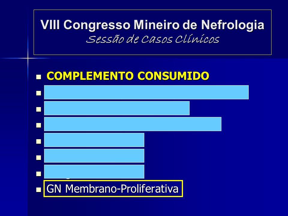 VIII Congresso Mineiro de Nefrologia Sessão de Casos Clínicos COMPLEMENTO CONSUMIDO COMPLEMENTO CONSUMIDO GN Pós-Infecciosa Aguda (via alternada) GN P