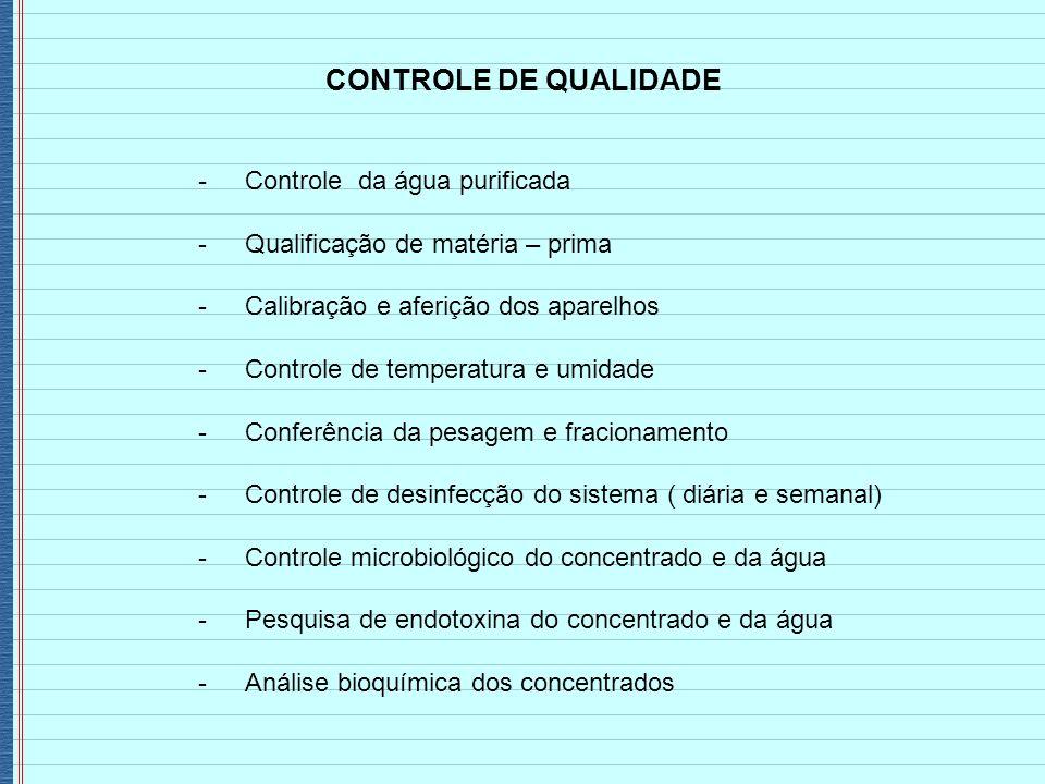 CONTROLE DE QUALIDADE - Controle da água purificada - Qualificação de matéria – prima - Calibração e aferição dos aparelhos - Controle de temperatura
