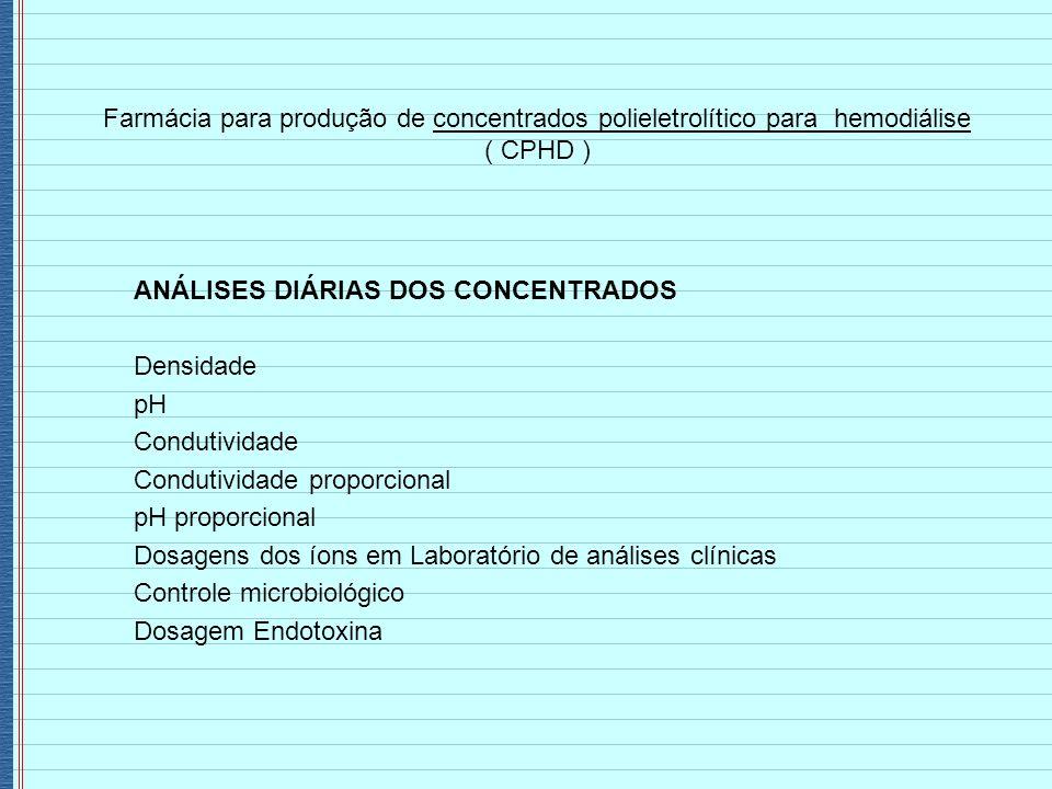 Farmácia para produção de concentrados polieletrolítico para hemodiálise ( CPHD ) ANÁLISES DIÁRIAS DOS CONCENTRADOS Densidade pH Condutividade Conduti