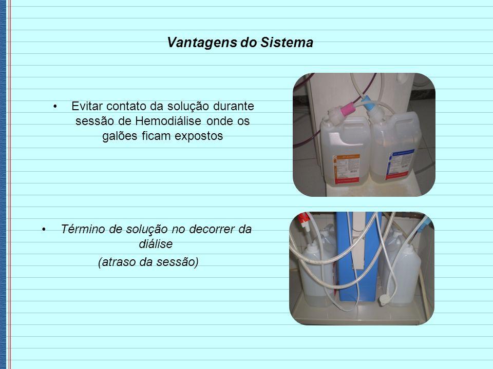 Evitar contato da solução durante sessão de Hemodiálise onde os galões ficam expostos Vantagens do Sistema Término de solução no decorrer da diálise (