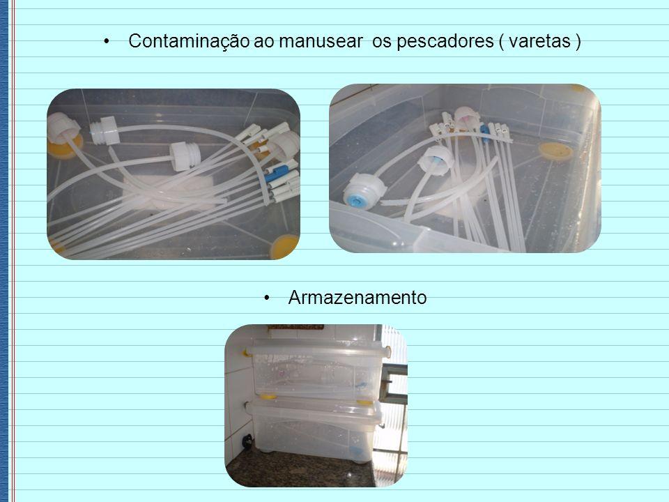 Contaminação ao manusear os pescadores ( varetas ) Armazenamento