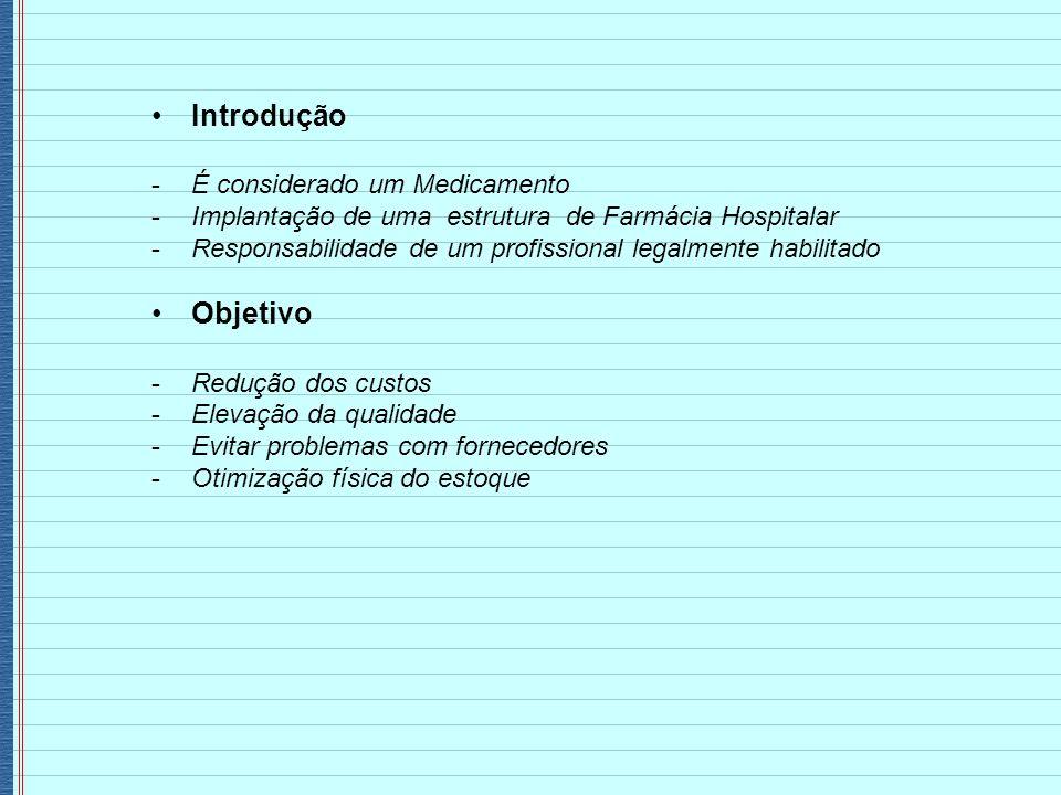 Introdução -É considerado um Medicamento -Implantação de uma estrutura de Farmácia Hospitalar -Responsabilidade de um profissional legalmente habilita
