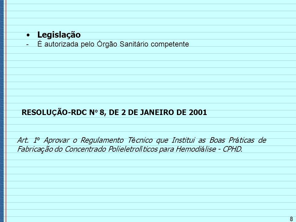 Legislação - É autorizada pelo Órgão Sanitário competente 8 RESOLU Ç ÃO-RDC N º 8, DE 2 DE JANEIRO DE 2001 Art. 1 º Aprovar o Regulamento T é cnico qu