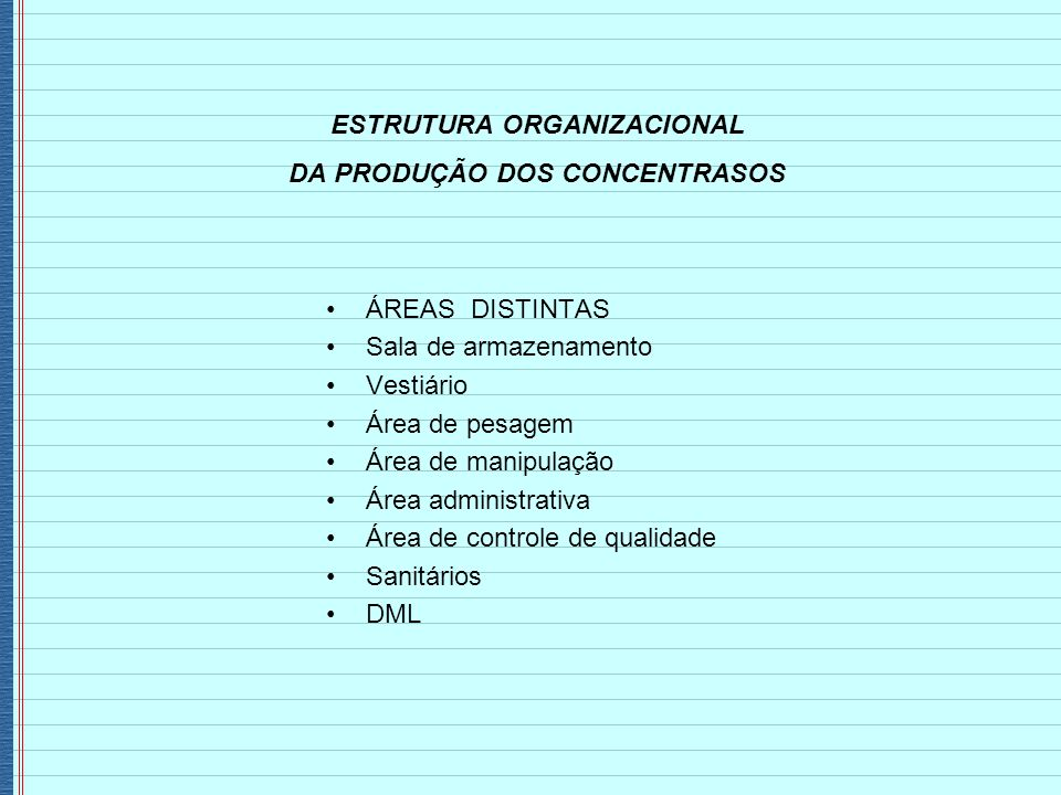 ESTRUTURA ORGANIZACIONAL DA PRODUÇÃO DOS CONCENTRASOS ÁREAS DISTINTAS Sala de armazenamento Vestiário Área de pesagem Área de manipulação Área adminis