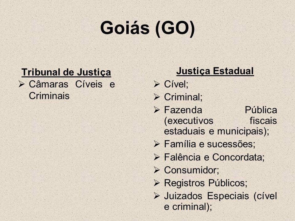 Goiás (GO) Tribunal de Justiça Câmaras Cíveis e Criminais Justiça Estadual Cível; Criminal; Fazenda Pública (executivos fiscais estaduais e municipais