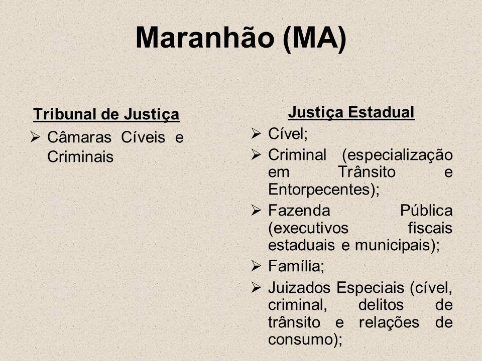 Maranhão (MA) Tribunal de Justiça Câmaras Cíveis e Criminais Justiça Estadual Cível; Criminal (especialização em Trânsito e Entorpecentes); Fazenda Pú
