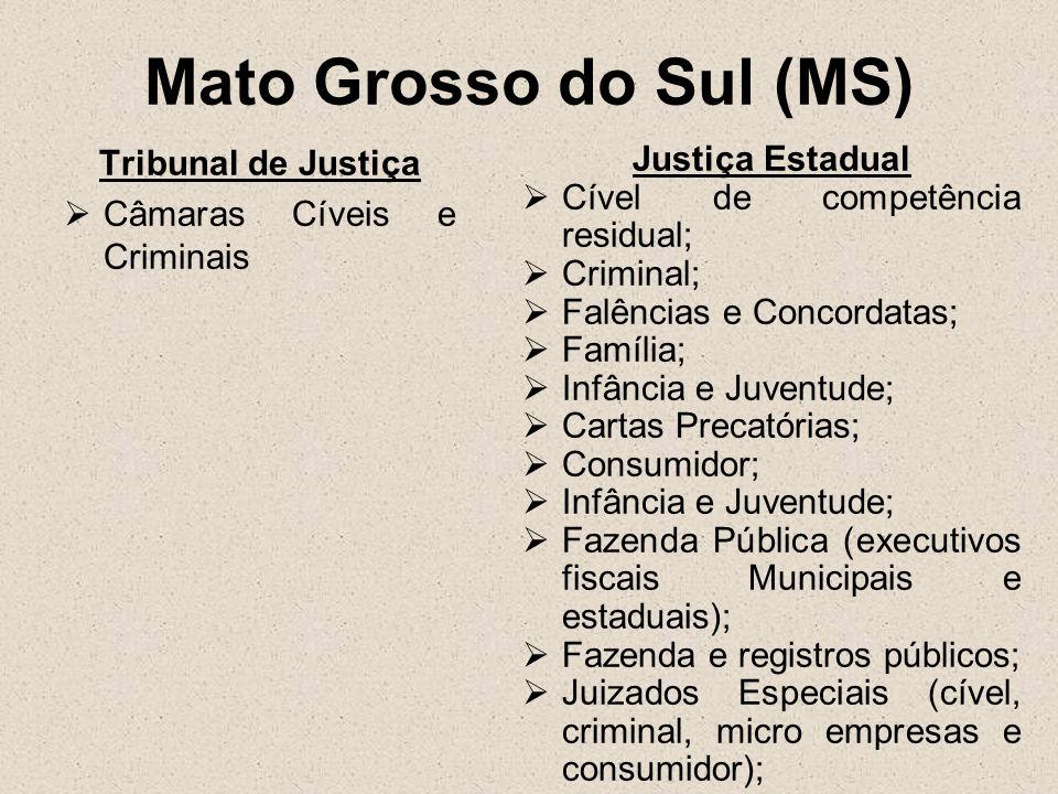 Mato Grosso do Sul (MS) Tribunal de Justiça Câmaras Cíveis e Criminais Justiça Estadual Cível de competência residual; Criminal; Falências e Concordat