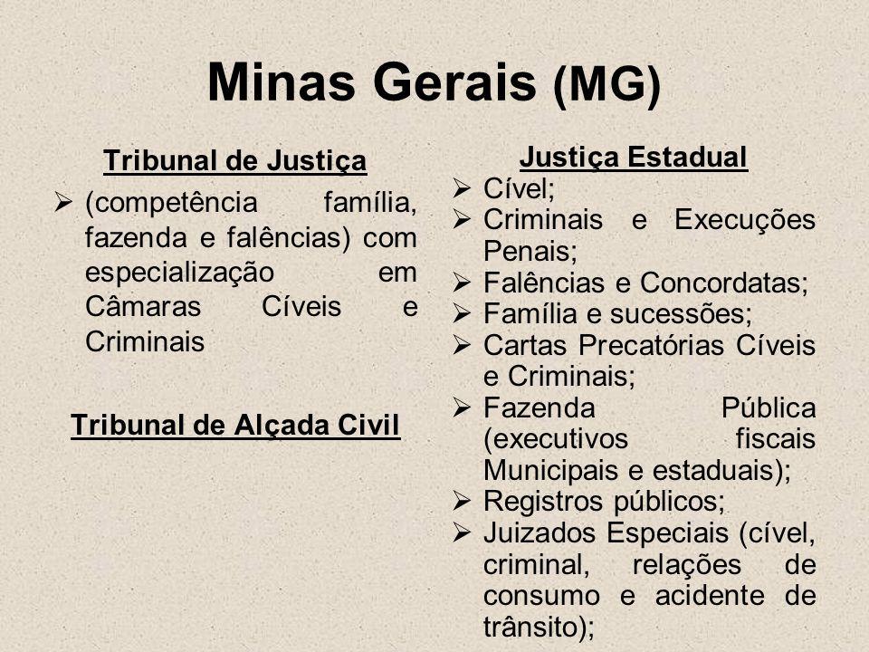 Minas Gerais (MG) Tribunal de Justiça (competência família, fazenda e falências) com especialização em Câmaras Cíveis e Criminais Tribunal de Alçada C