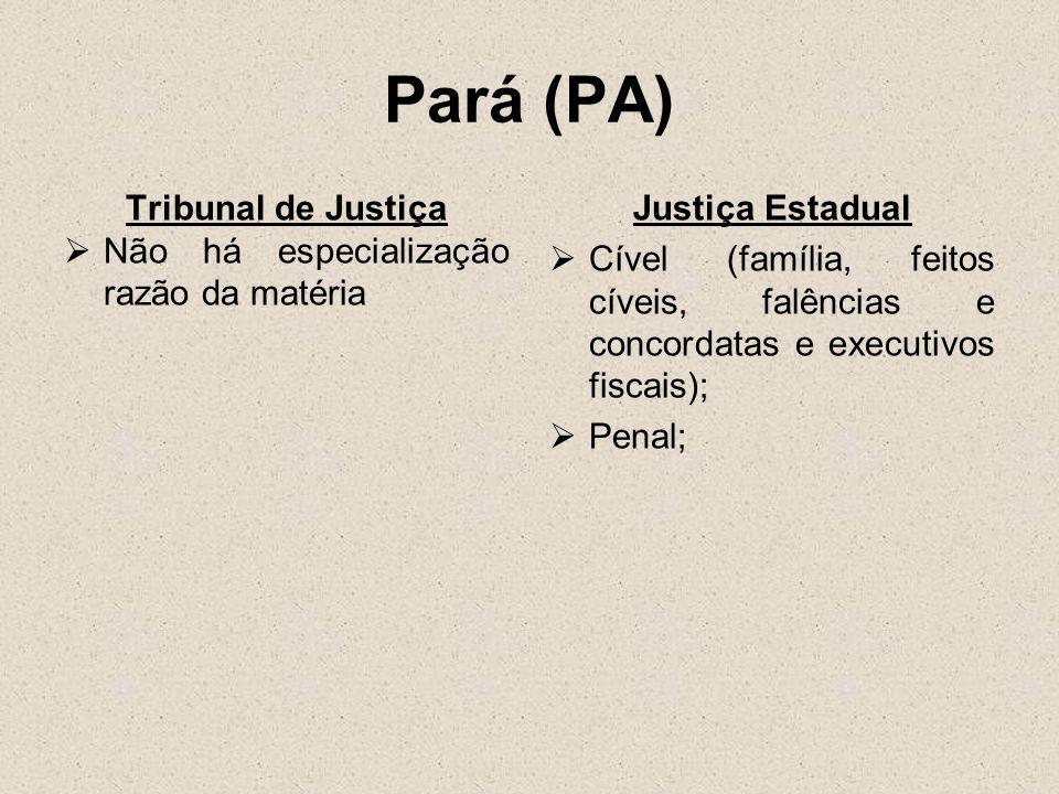 Pará (PA) Tribunal de Justiça Não há especialização razão da matéria Justiça Estadual Cível (família, feitos cíveis, falências e concordatas e executi