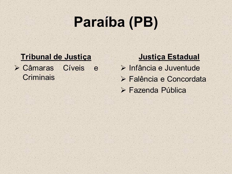 Paraíba (PB) Tribunal de Justiça Câmaras Cíveis e Criminais Justiça Estadual Infância e Juventude Falência e Concordata Fazenda Pública