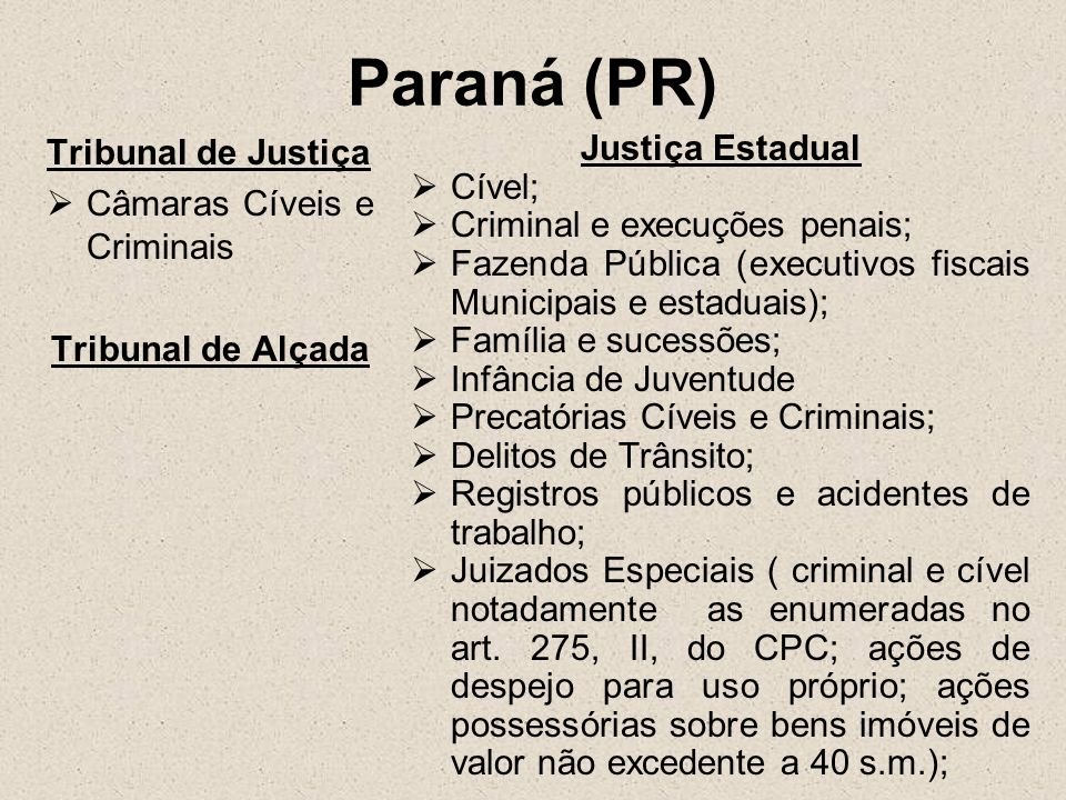 Paraná (PR) Tribunal de Justiça Câmaras Cíveis e Criminais Tribunal de Alçada Justiça Estadual Cível; Criminal e execuções penais; Fazenda Pública (ex