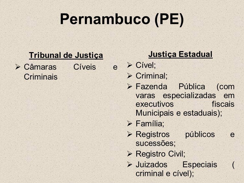 Pernambuco (PE) Tribunal de Justiça Câmaras Cíveis e Criminais Justiça Estadual Cível; Criminal; Fazenda Pública (com varas especializadas em executiv