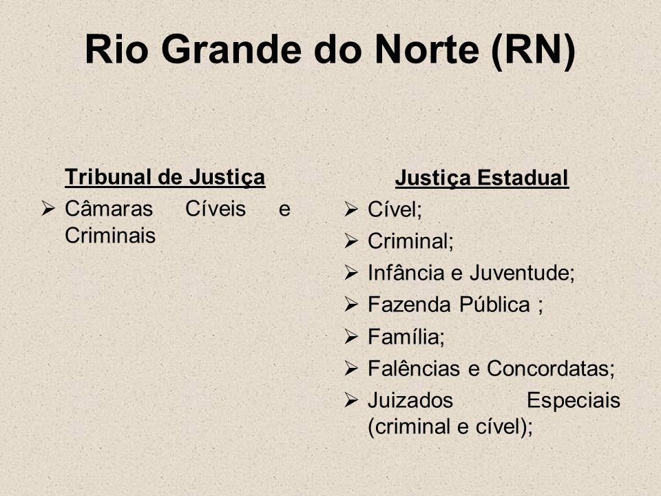Rio Grande do Norte (RN) Tribunal de Justiça Câmaras Cíveis e Criminais Justiça Estadual Cível; Criminal; Infância e Juventude; Fazenda Pública ; Famí