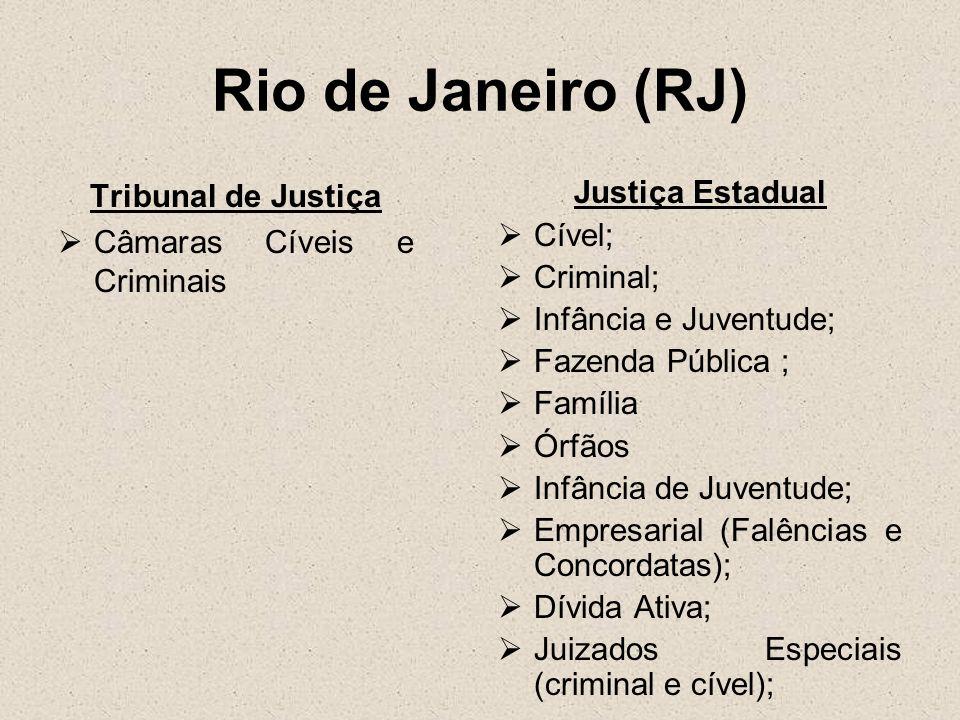 Rio de Janeiro (RJ) Tribunal de Justiça Câmaras Cíveis e Criminais Justiça Estadual Cível; Criminal; Infância e Juventude; Fazenda Pública ; Família Ó