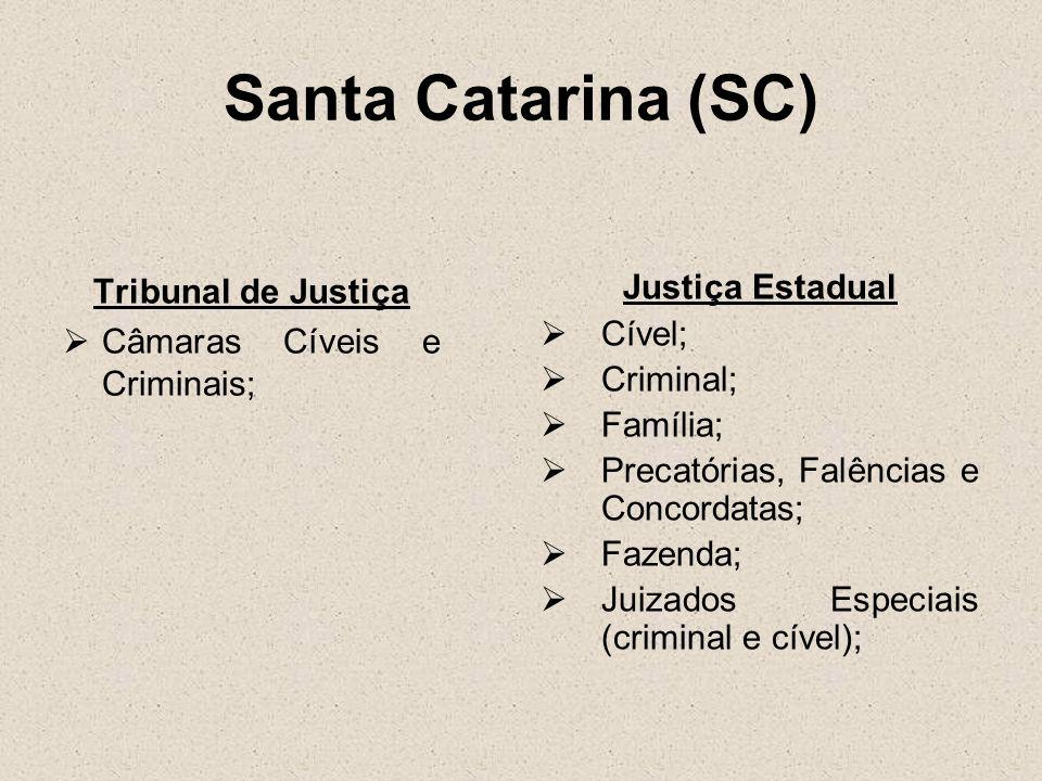Santa Catarina (SC) Tribunal de Justiça Câmaras Cíveis e Criminais; Justiça Estadual Cível; Criminal; Família; Precatórias, Falências e Concordatas; F