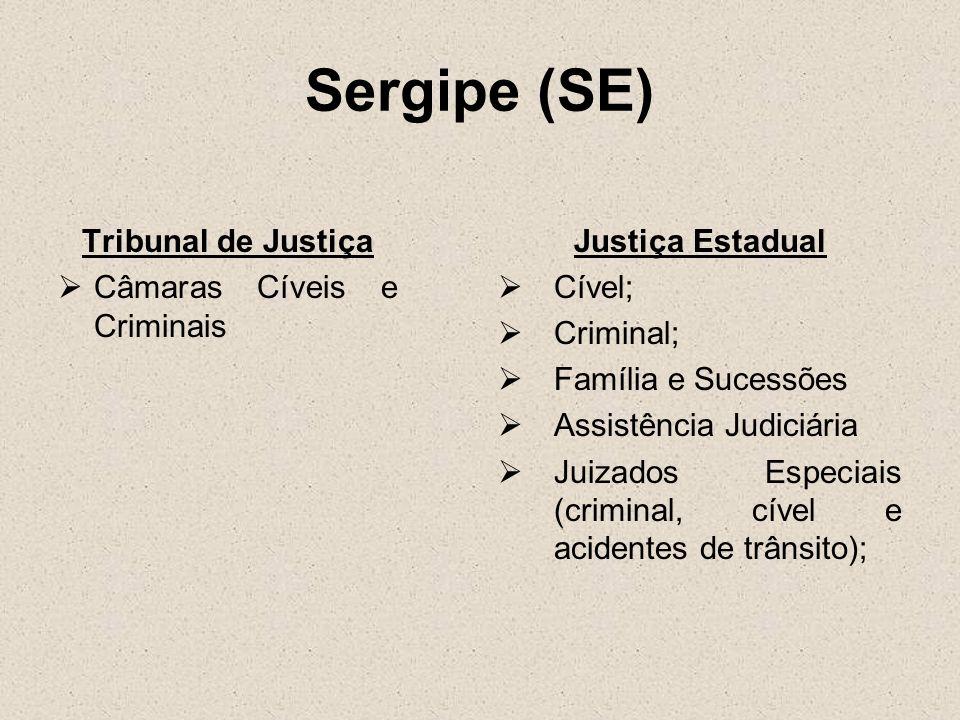 Sergipe (SE) Tribunal de Justiça Câmaras Cíveis e Criminais Justiça Estadual Cível; Criminal; Família e Sucessões Assistência Judiciária Juizados Espe