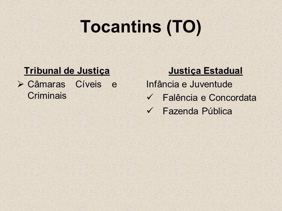 Tocantins (TO) Tribunal de Justiça Câmaras Cíveis e Criminais Justiça Estadual Infância e Juventude Falência e Concordata Fazenda Pública