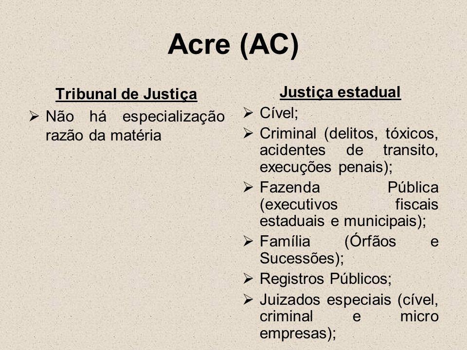 Acre (AC) Tribunal de Justiça Não há especialização razão da matéria Justiça estadual Cível; Criminal (delitos, tóxicos, acidentes de transito, execuç